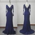 Show details for Elegant Dark Blue Long Sleeve V-Neck Lace Floor-Length Evening Dress