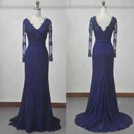 Elegant Dark Blue Long Sleeve V-Neck Lace Floor-Length Evening Dress