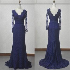 Elegant Dark Blue Long Sleeve V-Neck Lace Floor-Length Evening Dress