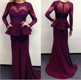 Illusion Long Sleeve Peplum Mermaid Evening Dress With Illusion Bodice