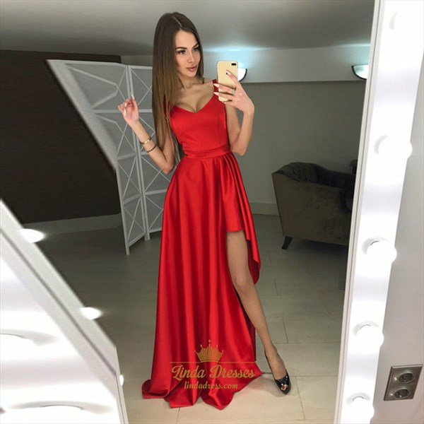 Red Simple Sleeveless V-Neck A-Line Long Evening Dress With Side Split
