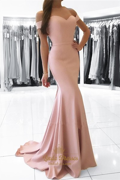 Pale Pink Off-The-Shoulder Sweetheart Floor Length Mermaid Prom Dress