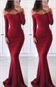 Show details for Off Shoulder Sweetheart Floor-Length Evening Dress With Long Sleeves
