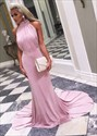 Show details for Elegant High-Neck Sleeveless Long Evening Dress With Ruched Bodice