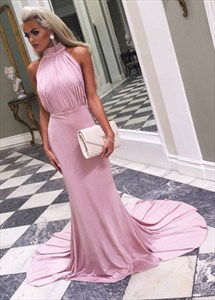 Elegant High-Neck Sleeveless Long Evening Dress With Ruched Bodice