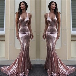 Trumpet/Mermaid Pink Sequin Plunging V-Neck Floor-Length Prom Dress