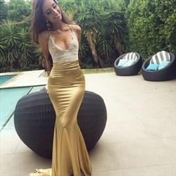 Champagne Spaghetti Strap Mermaid Lace Bodice Floor-Length Prom Dress