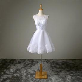 A-Line Short Sleeveless Beaded Bodice Lace Embellished Wedding Dress