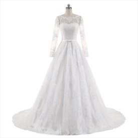 Illusion Sheer Long Sleeve Lace Applique Tulle Ball Gown Wedding Dress