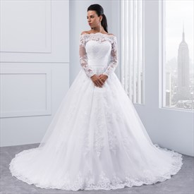 Off-The-Shoulder A-Line Lace Applique Wedding Dress With Long Sleeves