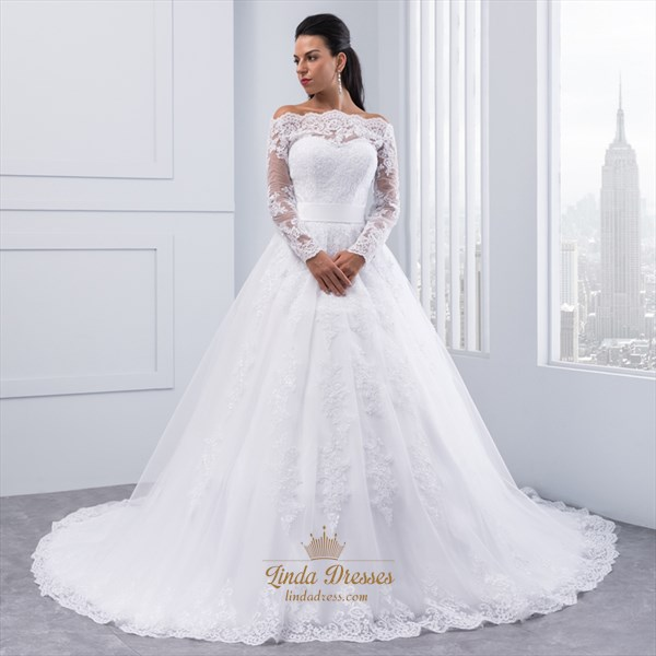 Show details for Off-The-Shoulder A-Line Lace Applique Wedding Dress With Long Sleeves