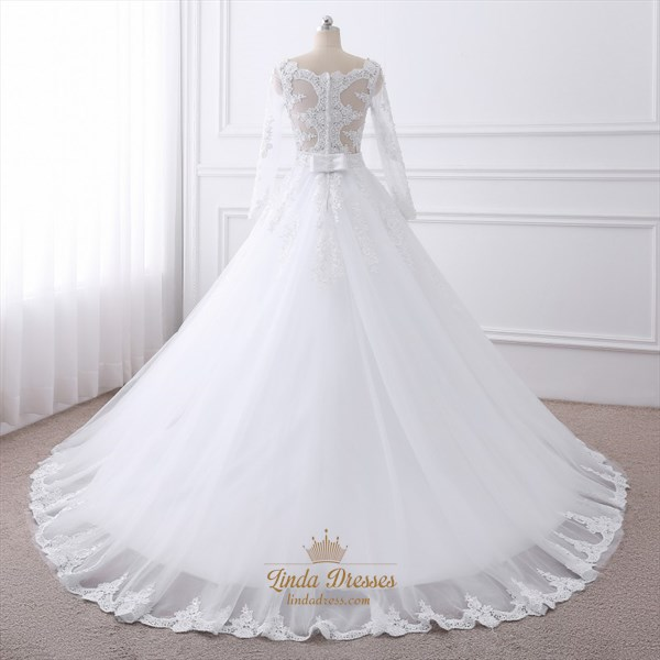 Illusion Long Sleeve A-Line Ball Gown Wedding Dress With Appliques