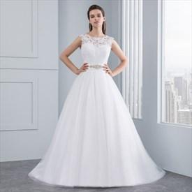 Floor-Length Sleeveless Lace Bodice A-Line Wedding Dress With Belt