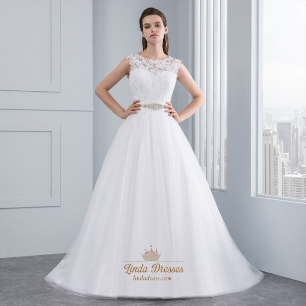 Show details for Floor-Length Sleeveless Lace Bodice A-Line Wedding Dress With Belt