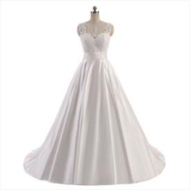 Ivory Sleeveless Lace Bodice Floor Length A-Line Satin Wedding Dress