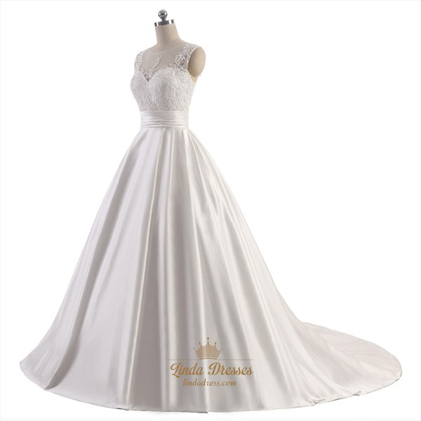 Ivory Sleeveless Lace Bodice Floor Length A-Line Satin Wedding Dress