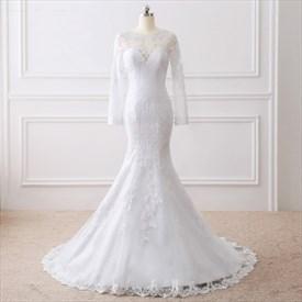 Elegant Mermaid Floor Length Wedding Dress With Illusion Long Sleeves