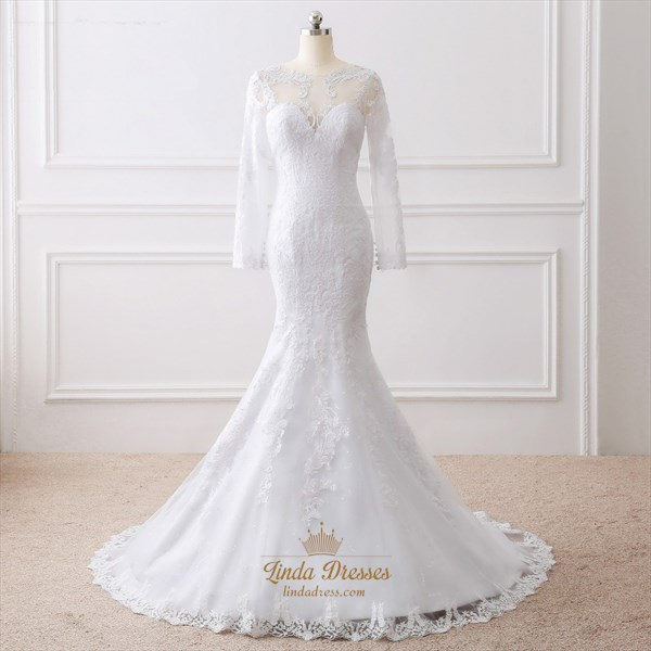 Show details for Elegant Mermaid Floor Length Wedding Dress With Illusion Long Sleeves