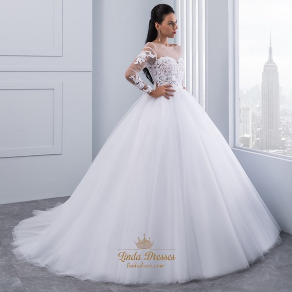 Sheer Long Sleeve Lace Bodice Tulle Skirt Wedding Dress With Open Back