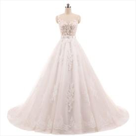 Illusion Sleeveless Lace Applique Embellished Wedding Dress With Belt