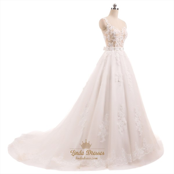 Illusion Sleeveless Lace Applique Embellished Wedding Dress With Belt