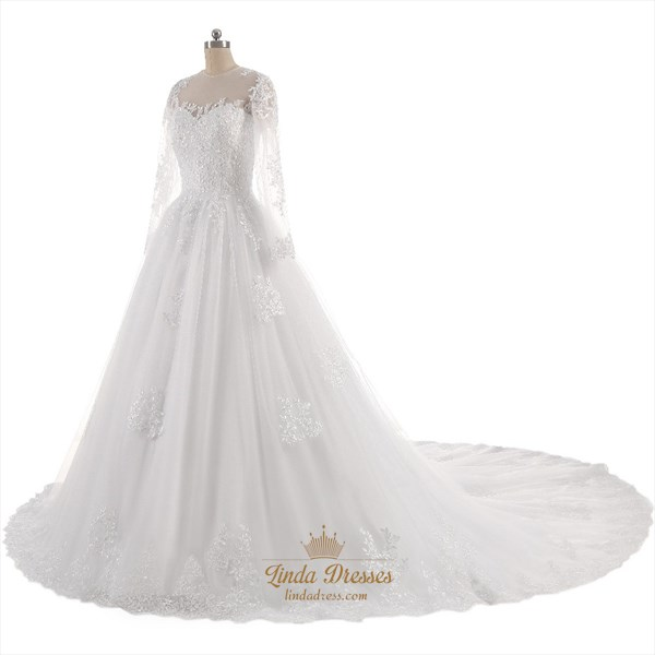 Illusion Long Sleeve Lace Applique A-Line Cathedral Train Wedding Gown