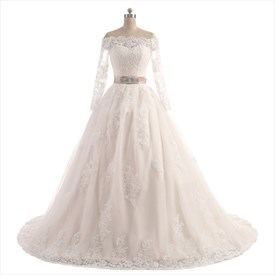 Off-The-Shoulder Long Sleeve A-Line Ball Gown Wedding Dress With Belt