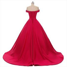 Red Off-The-Shoulder A-Line Floor Length Satin Ball Gown Prom Dress