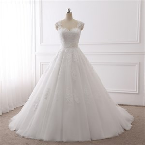 Cap Sleeve Sweetheart Applique Tulle Wedding Dress With Illusion Back