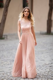Peach Sleeveless Open Back Lace Bodice A-Line Floor-Length Prom Dress