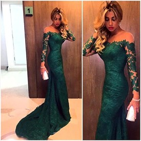 Emerald Green Sheer Neckline Long-Sleeve Mermaid Lace Long Prom Dress