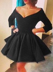 Off Shoulder V-Neck A-Line Little Black Dress With 3/4 Length Sleeves