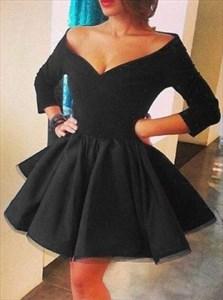 Off Shoulder V-Neck A-Line Little Black Dress With 3/4 Length Sleeves