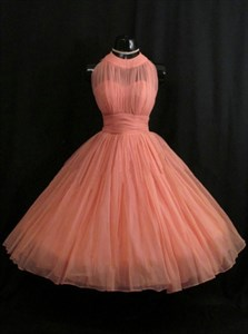 Coral Sleeveless Empire Waist A-Line Ruched Chiffon Homecoming Dress