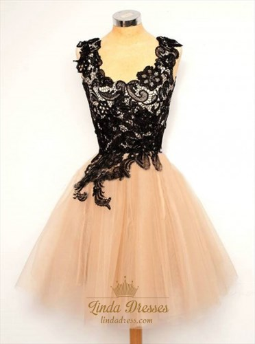 Sleeveless Scoop Neckline Lace Bodice Short A-Line Homecoming Dress