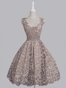 Grey Sleeveless Scoop Neck Knee Length A-Line Lace Homecoming Dress