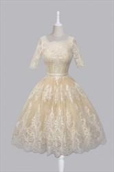 Half Sleeve A-Line Lace Applique Embellished Short Homecoming Dress