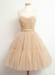 Sleeveless A-Line Ruched Tulle Homecoming Dress With Sheer Neckline