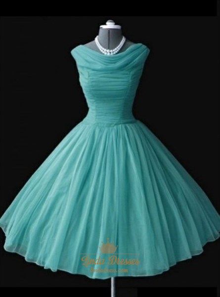 Sleeveless Cowl Neck A-Line Ruched Chiffon Short Homecoming Dress