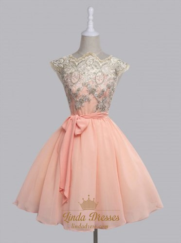 A-Line Cap Sleeve Lace Bodice Chiffon Short Homecoming Dress With Belt