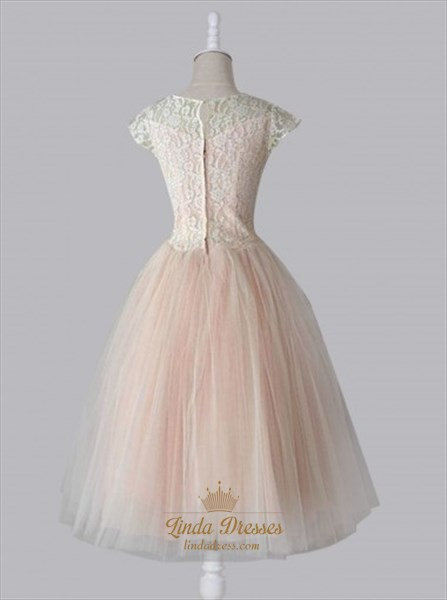 Blush Pink Cap Sleeve Lace Bodice Tulle Skirt A-Line Homecoming Dress