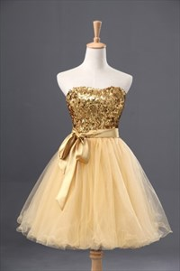 Short Strapless Sweetheart Sequin Bodice Homecoming Dress With Belt