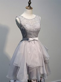 Grey Sleeveless Lace Bodice Backless Short Ruffled Homecoming Dress