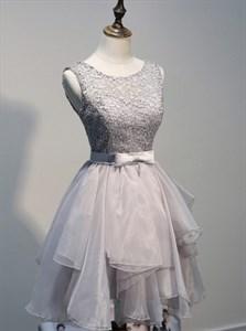 Grey Sleeveless Lace Bodice Backless Short Ruffled Homecoming Dress