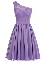 One Shoulder A-Line Short Lace Bodice Chiffon Skirt Bridesmaid Dress