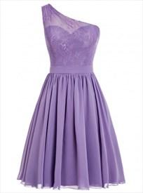 One Shoulder A-Line Short Lace Bodice Chiffon Skirt Bridesmaid Dress