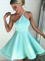 Show details for Jade Spaghetti Strap A-Line Satin Short Open Back Homecoming Dress