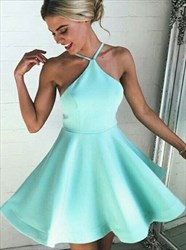 Jade Spaghetti Strap A-Line Satin Short Open Back Homecoming Dress