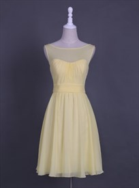 Light Yellow Sheer Neckline Sleeveless A-Line Short Homecoming Dress