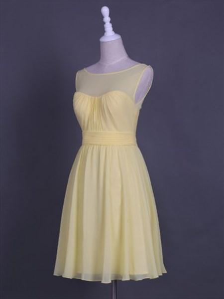 Light Yellow Sheer Neckline Sleeveless A-Line Short Homecoming Dress